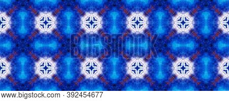 Watercolor Geometric Background. Cerulean Texture. Abstract Kaleidoscope Motif. Repeatably Tie Dye O