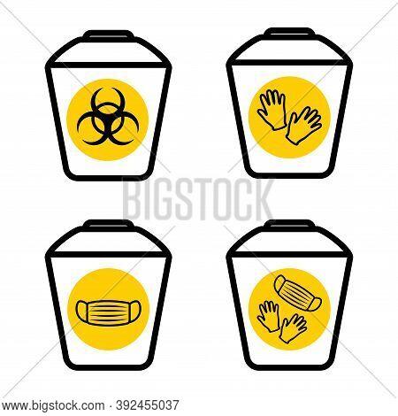 Medical Mask Utilization. Biohazard Waste Disposal. Biohazard Infectious Waste. Garbage Sorting Vect
