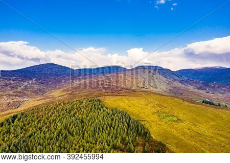 Aerial View Of The Bluestack Mountains Viewing Towards Meenaguse Beg And Lough In Donegal - Ireland