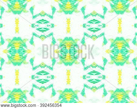 Seamless Ethnic Tile. Pastel Colors Green And Yellow. Fashion Traditional Background. Ink Textured A