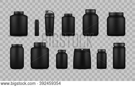 Whey Protein And Mass Gain Black Plastic Jar, Bottle. Fitness Nutrition Canister Design Template For