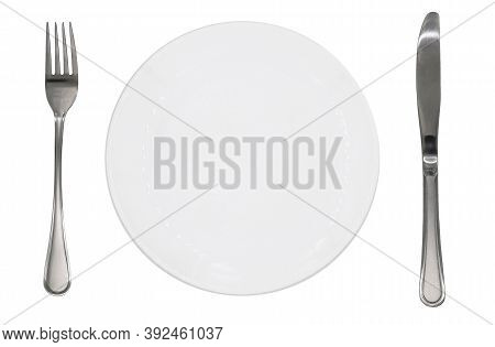 Empty Plate Fork Knife Cutlery. Isolated On White Background