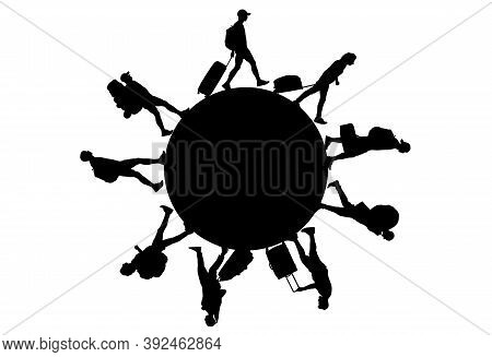 Black Silhouettes Of People With Luggage Around Circle (planet). Tourists Walking On Circle. Vector