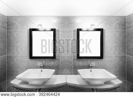 Part Of Modern Bathroom Showing Symmetrical Two Contemporary Washbasins With Mirrors And Lit Lamps I