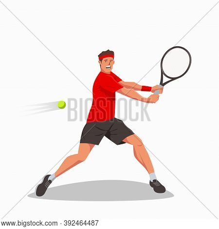 A Tennis Player Holds A Tennis Racket In Both Hands And Swings To Hit The Tennis Ball. A Young Athle