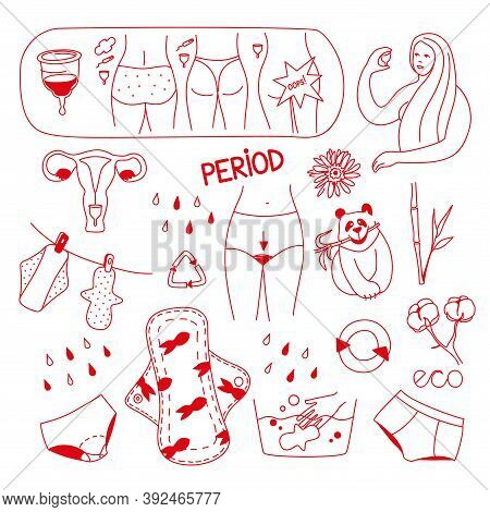 Vector Illustration On The Theme Of Reusable Female Intimate Hygiene Products. Menstrual Cups, Reusa