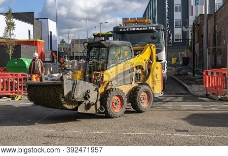 Doncaster, Yorkshire, England -  October 7, 2020. Big Sweeper Broom For Excavators Near The Doncaste