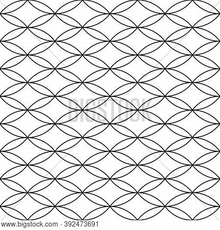 White Figures Tessellation On Black Background. Image With Oval And Rhomboidal Shapes. Ethnic Mosaic
