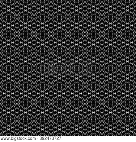 Black Figures Tessellation On White Background. Image With Oval And Rhomboidal Shapes. Ethnic Mosaic