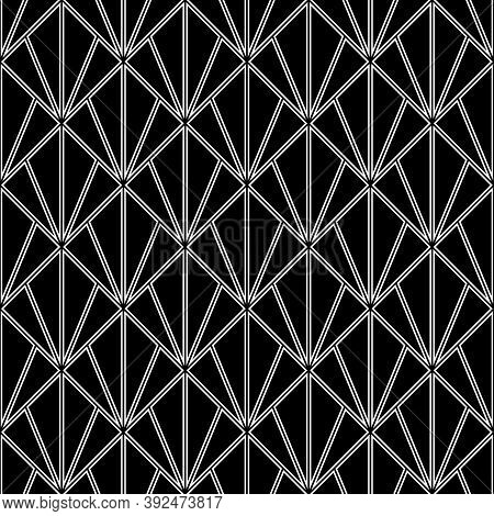 White Triangle Contours On Black Background. Image With Repeated Hollow Triangles. Seamless Pattern