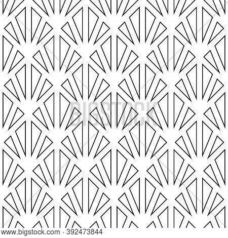 Black Triangle Contours On White Background. Image With Repeated Hollow Triangles. Seamless Pattern