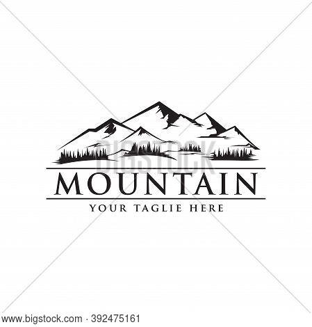 Mountain Logo Design Vector Illustration, Mountain Shape Silhouette Symbol