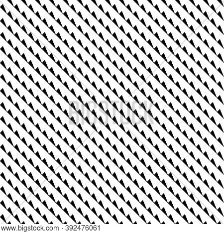 Repeated Black Slanted Mini Triangles On White Background. Seamless Surface Pattern With Polygons. O