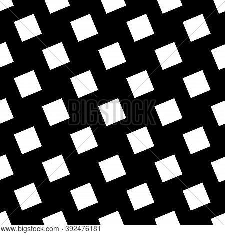 Repeated White Slanted Squares On Black Background. Seamless Surface Pattern Design With Polygons Or