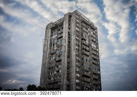 Selective Blur On A High Rise Building From Novi Beograd, In Belgrade, Serbia, A Traditional Communi