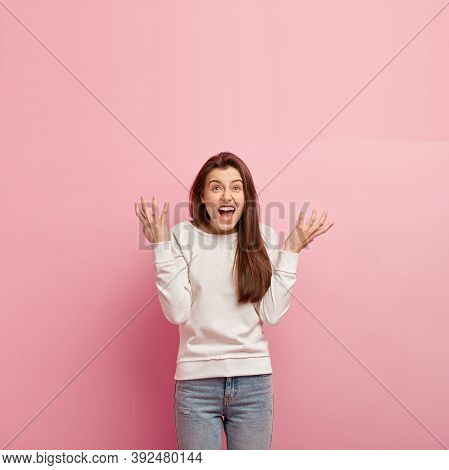 Enraged Female Screams Desperately, Makes Angry Gesture, Feels Furious At Naughty Child, Spreads Han