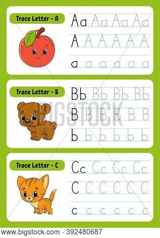 Writing Letters. Tracing Page. Practice Sheet. Worksheet For Kids. Exercise For Preschools. Learn Al