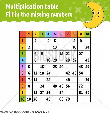 Paste The Missing Numbers. Learning Multiplication Table. Handwriting Practice. Education Developing