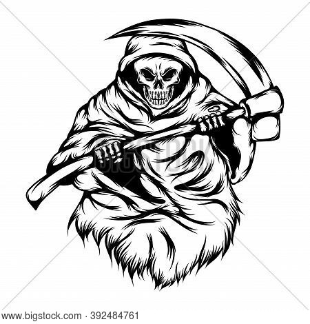 The Grim Reaper Use The Big Hood And Hold Scythe