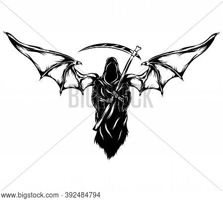 The Black Grim Reaper With The Big Bat Wings
