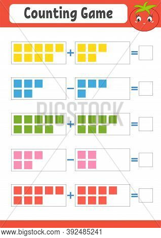 Addition And Subtraction. Task For Kids. Education Developing Worksheet. Activity Color Page. Game F