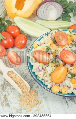 Fresh Salad With Bulgur Groats And Vegetables As Best Food For Dieting And Slimming. Source Minerals