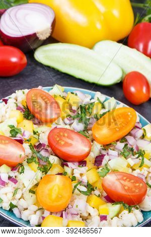 Fresh Prepared Salad With Vegetables And Bulgur Groats. Healthy Meal Containing Vitamins And Mineral
