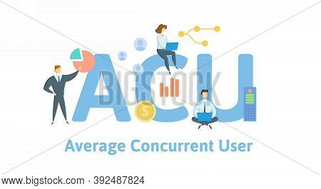Acu, Average Concurrent User. Concept With Keywords, People And Icons. Flat Vector Illustration. Iso