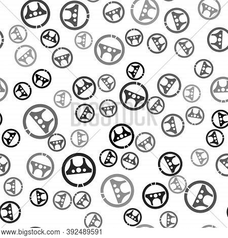 Black Steering Wheel Icon Isolated Seamless Pattern On White Background. Car Wheel Icon. Vector Illu