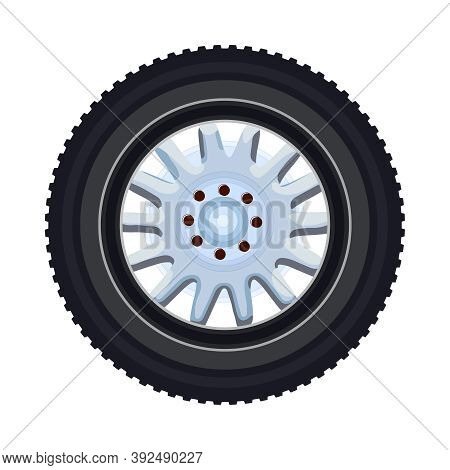 Tire Isolated On White Background. Car Or Motorcycle Wheel. Black Rubber Auto Tire With Rim. Old Whe