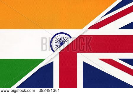 India And United Kingdom Of Great Britain Or Uk, Symbol National Flags From Textile. Relationship, P