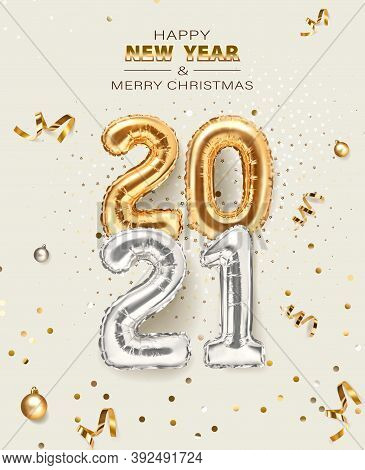 2021 Golden Decoration Holiday On Beige Background. Shiny Party Background. Gold Foil Balloons Numer