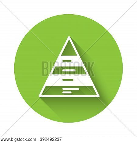 White Business Pyramid Chart Infographics Icon Isolated With Long Shadow. Pyramidal Stages Graph Ele