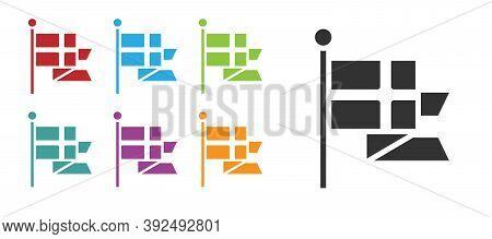 Black Flag Of England On Flagpole Icon Isolated On White Background. Set Icons Colorful. Vector
