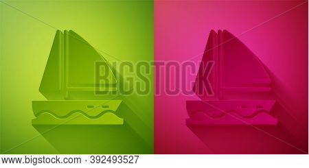 Paper Cut Yacht Sailboat Or Sailing Ship Icon Isolated On Green And Pink Background. Sail Boat Marin