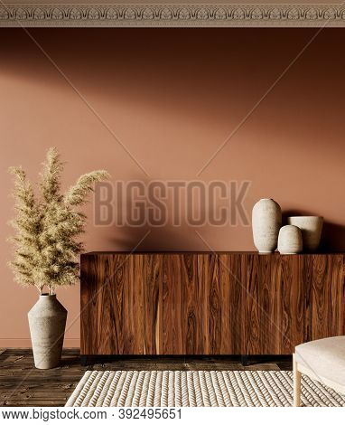 Brown Orange Interior With Dresser And Decor. 3d Render Illustration Mock Up.