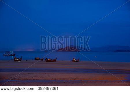 Ranong, Thailand - September 20, 2020 : The Blue Sky View With Beach  At Koh Phayam Island, Ranong P