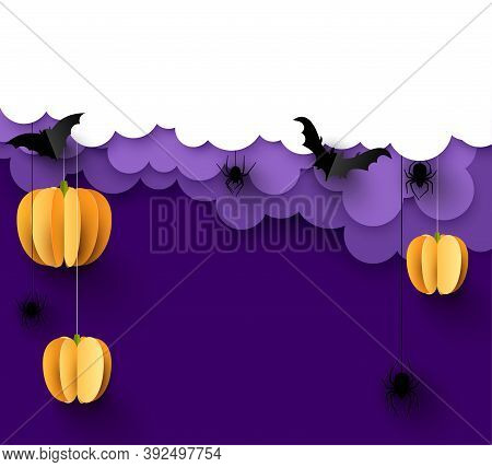 Orange 3d Paper Pumpkins Hanging On Threads. Black Paper Bats And Spiders. White And Light Violet Cl