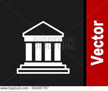 White Parthenon From Athens, Acropolis, Greece Icon Isolated On Black Background. Greek Ancient Nati