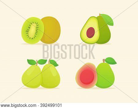 Fruit Set Collection Kiwi Avocado Pear Guava Slice Whole Fresh Juicy Vitamin Nutrition Fiber White I