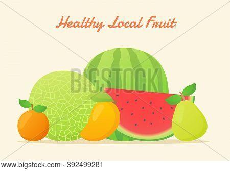 Healthy Local Fruit Set Collection Melon Water Melon Orange Mango Pear Fresh Juicy Vitamin Nutrition