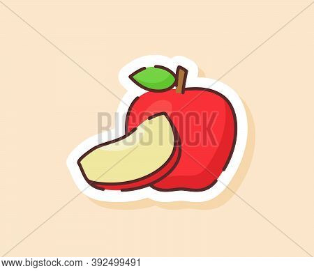 Apple Sticker Fruity Healthy Fresh Food With Color Flat Cartoon Outline Style