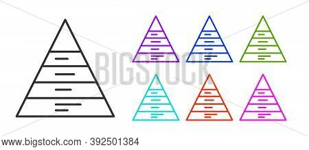Black Line Business Pyramid Chart Infographics Icon Isolated On White Background. Pyramidal Stages G