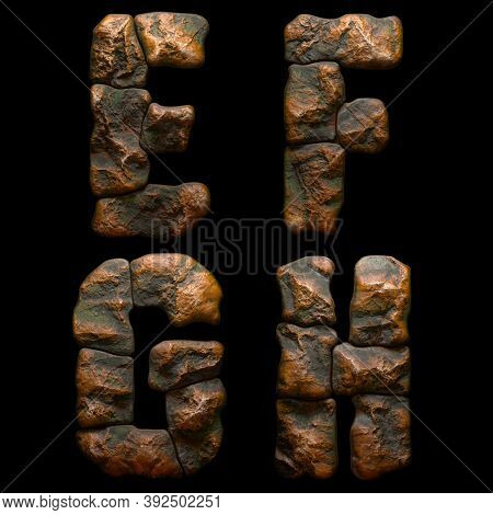 Set of rocky letters E, F, G, H. Font of stone on black background. 3d rendering