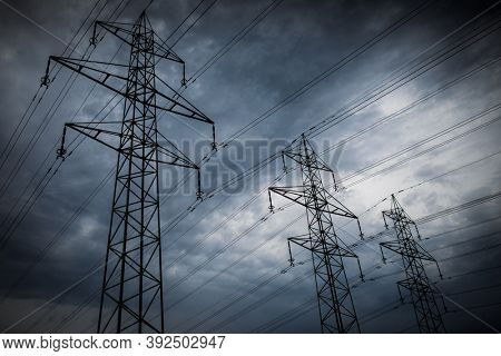 High-voltage power lines. electricity distribution station . high voltage electric transmission tower in landscape