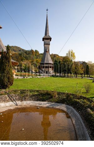 BARSANA, ROMANIA - OCTOBER 28, 2020: View of Barsana Wooden Monastery site in Maramures County, Romania.