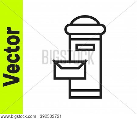 Black Line Traditional London Mail Box Icon Isolated On White Background. England Mailbox Icon. Mail