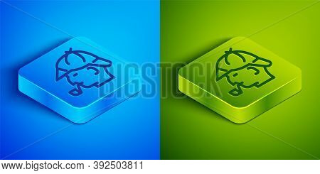Isometric Line Sherlock Holmes With Smoking Pipe Icon Isolated On Blue And Green Background. Detecti