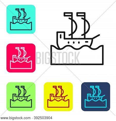 Black Line Sailboat Or Sailing Ship Icon Isolated On White Background. Sail Boat Marine Cruise Trave