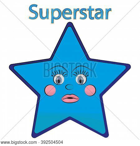 Superstar With Perky Eyes And Rosy Cheeks. Print Badge. Illustration.